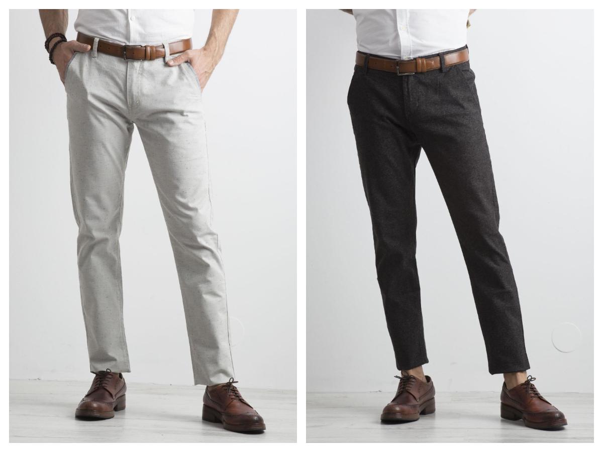 Męskie spodnie z materiału jasne i ciemne