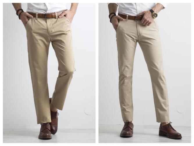 jasne Męskie spodnie z materiału