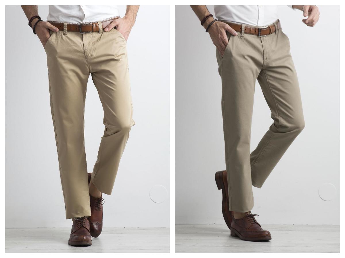 Eleganckie spodnie męskie chino w kolorze beżowym