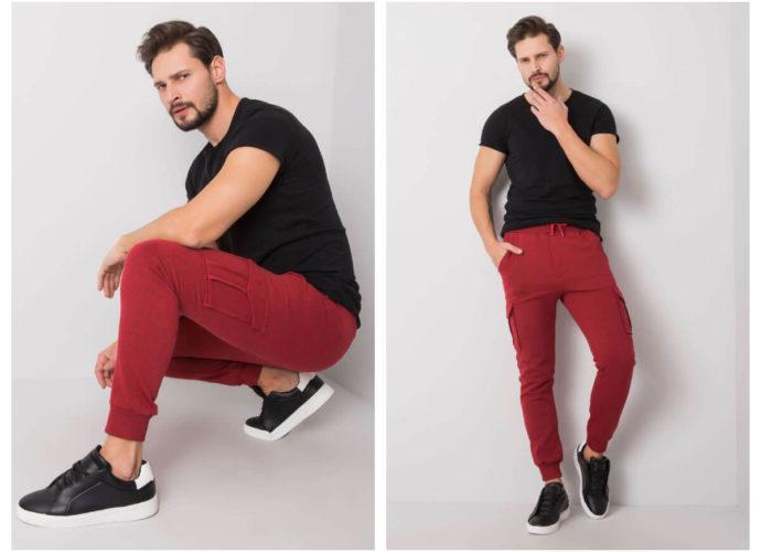 Dresowe spodnie cargo męskie czerwone