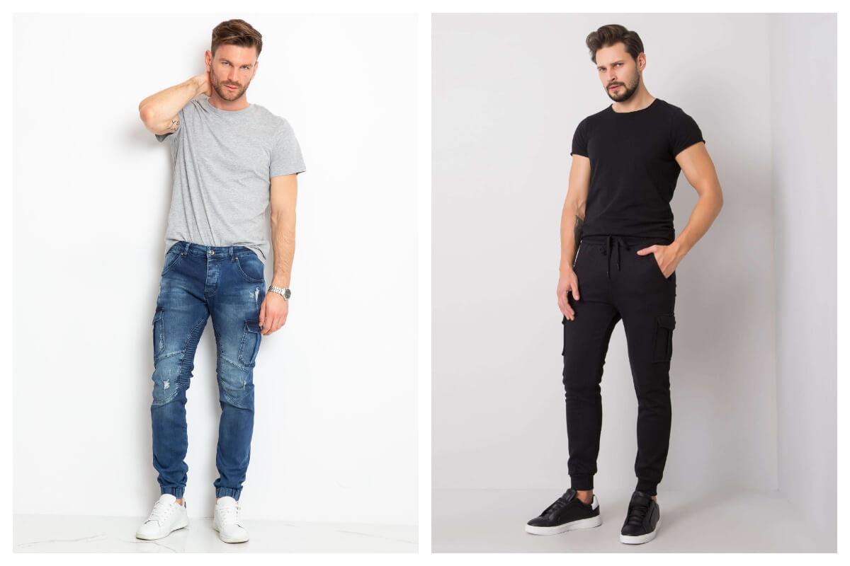 Jeansowe i dresowe spodnie cargo męskie