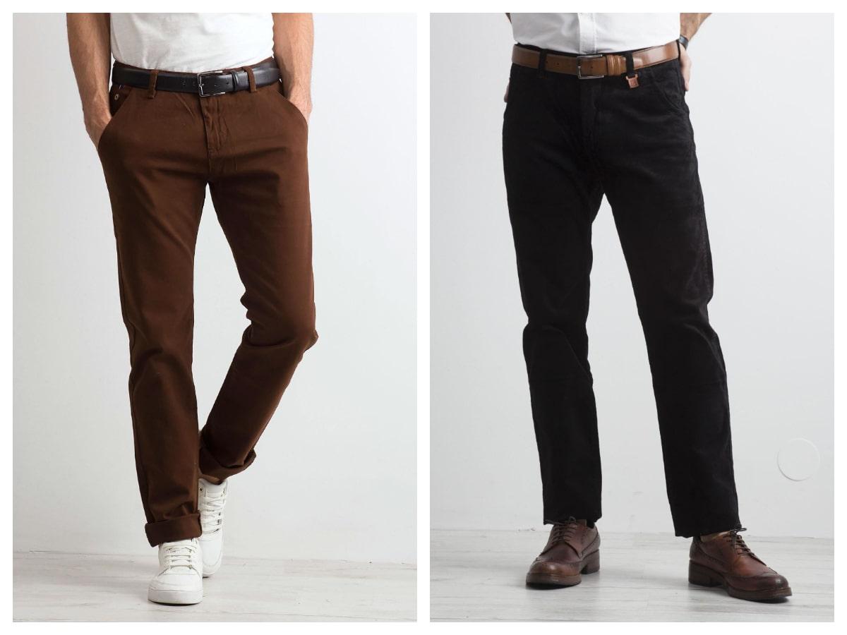 Męskie spodnie materiałowe o prostym kroju