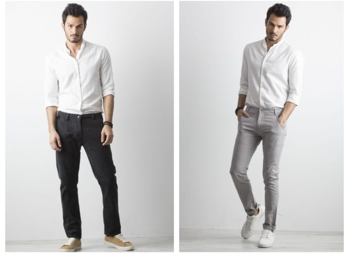 Ciemnoszare i szare męskie spodnie z materiału do pracy
